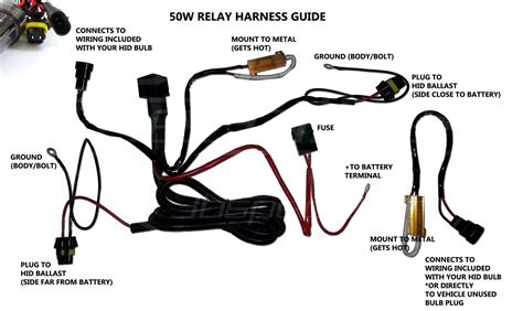 hid kit wire relay harness w flicker plugs 50w rly 21 99
