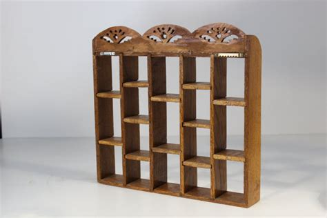 vintage wooden knick knack shelf collectable shelf