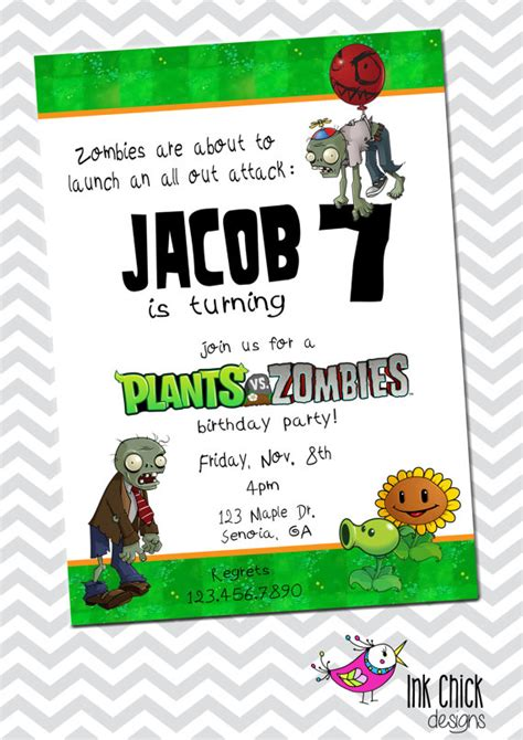 free plants vs zombies birthday party invitation party