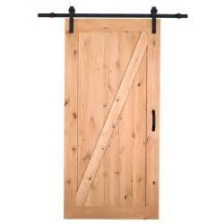 Barn Door Hardware Interior Masonite 42 In X 84 In Z Bar Knotty Alder Wood Interior Barn Door Slab With Sliding Door