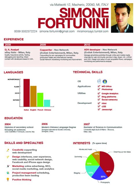 visual infographic resume exles vizualresume com