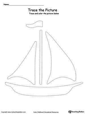 boat pictures for kindergarten boat picture tracing drawing coloring worksheets