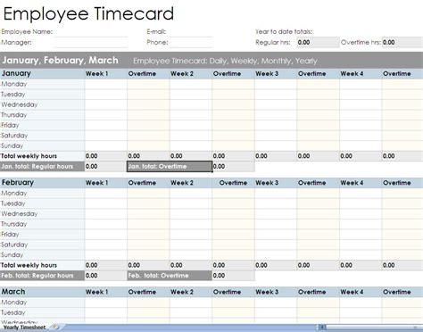 employee timesheet spreadsheet form excel templates