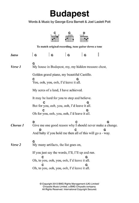 Ukulele Tutorial Budapest | budapest sheet music by george ezra lyrics chords 120858
