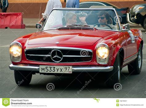 classic red mercedes red vintage mercedes retro car editorial photography