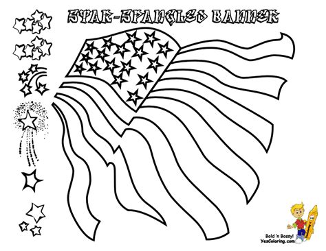 coloring page of the star spangled banner star spangled banner flag coloring sketch coloring page