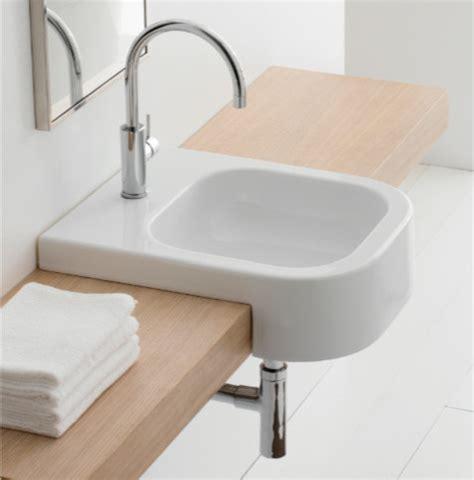 semi recessed bathroom sinks semi recessed contemporary white ceramic bathroom sink by