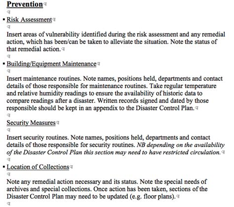 library disaster plan template library disasters a preservation primer templates