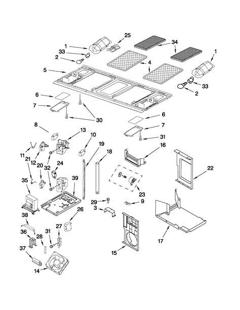 kitchenaid microwave parts diagram interior and ventilation parts diagram parts list for