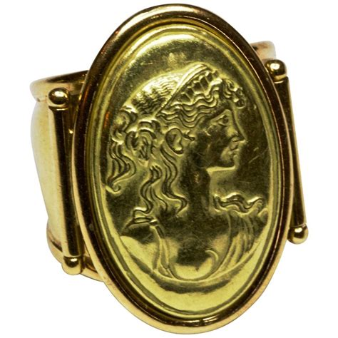 italian  carat yellow gold portrait ring  sale  stdibs