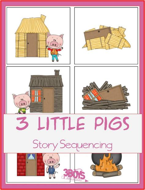 story with themes 3 little pigs story sequence printable preschool