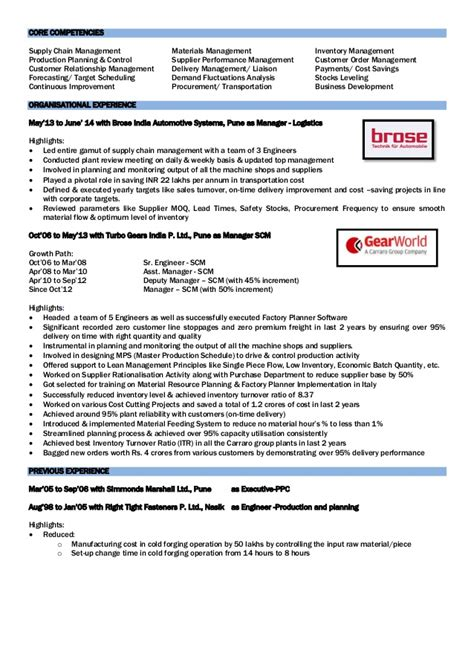 resume format for production planning engineer production planning and resume resume ideas