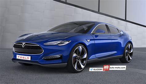 tesla model 3 rendering shows swoopy hatchback design