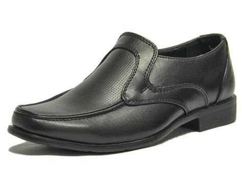 shoes size 1 new boys black formal school shoes dress slip on wedding