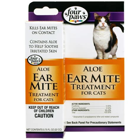 Home Remedies For Ear Mites In Dogs by Four Paws Ear Mite Remedy For Cats 0 75 Fl Oz