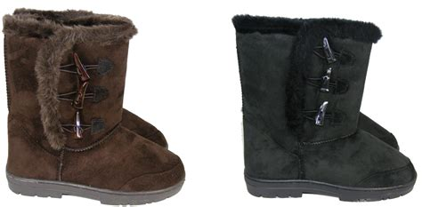 womens brown black high faux fur lined winter boot