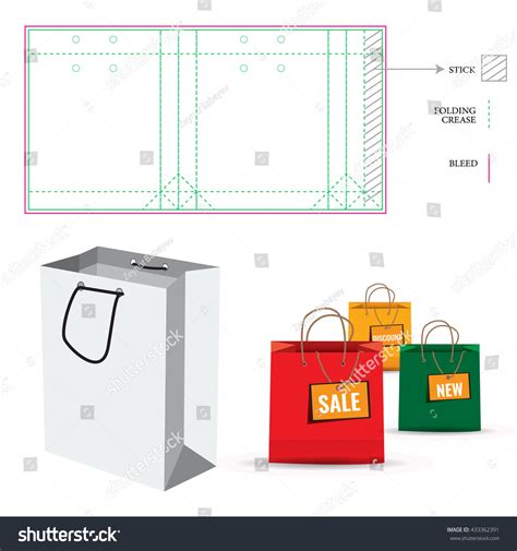 Shopping Paper Bag With Die Cut Layout Template Cut And Fold Lines Double Paper Protected Paper Bag Die Cut Template