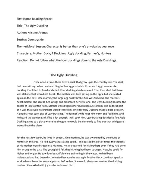 Story Book Report Sle by Home Reading Report 1