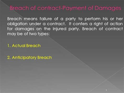 the of contract damages second edition books bl 7 breach of contract payment of damages authorstream