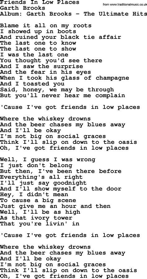 in lyrics friends in low places by garth lyrics