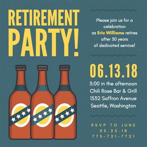 retirement party cheers beers wood pub invitation retirement
