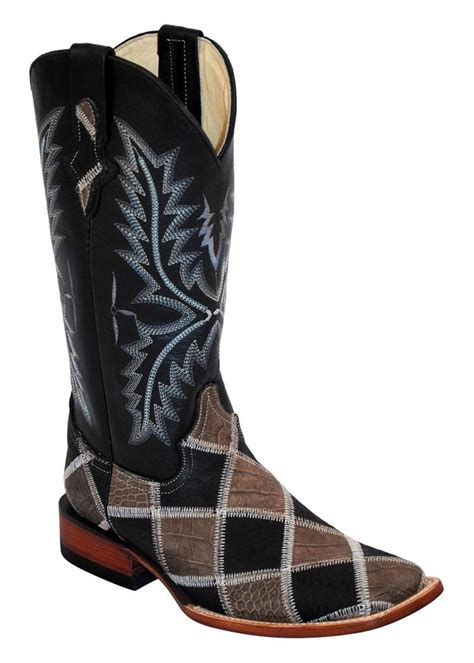 Ferrini Patchwork Boots - ferrini western cowboy boots womens patchwork black gray