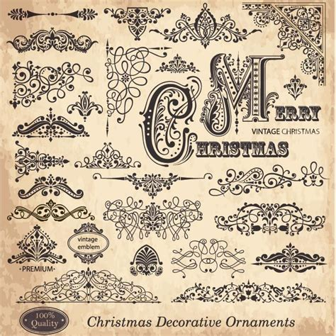 pattern ornament font free vector set of victorian style merry christmas vintage