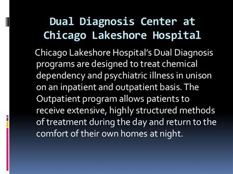 Unity Chemical Dependency Outpatient Detox by Dual Diagnosis Center At Chicago Lakeshore Hospital By