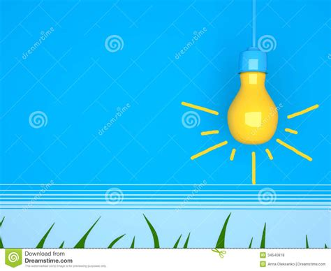 yellow light bulb on blue background royalty free stock