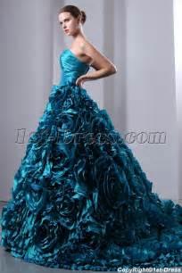 luxurious teal blue 3d handmade floral bridal gowns 2014