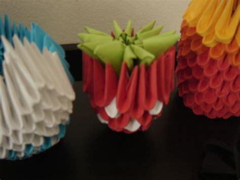 3d Origami Strawberry - 3d origami strawberry by ydded