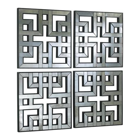 set of 4 akari contemporary lattice mirrored wall panels kathy kuo home