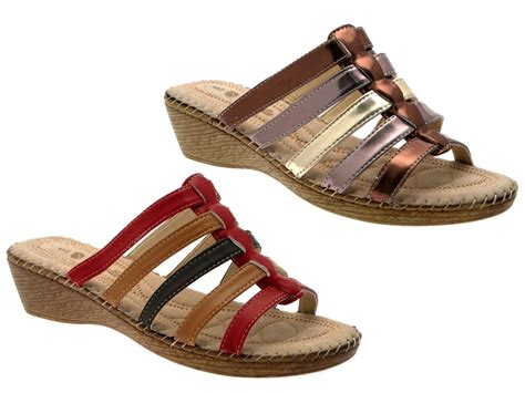 Womens Comfort Low Wedges Strappy Sandals Mules Ladies