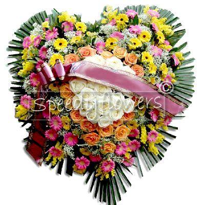 cuscino a forma di cuore inviare composizione funebre cuore di fiori lutto