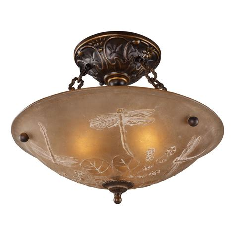 Titan Lighting 3 Light Golden Bronze Ceiling Semi Flush 3 Light Semi Flush Mount Ceiling Fixture