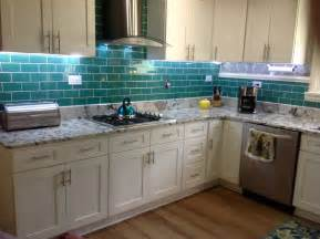 emerald green glass subway tile updated kitchen backsplash