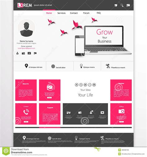Business Website Template Home Page Design Clean And Simple With A Space For A Text Stock Home Page Template