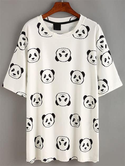 Panda Tshirt white panda print t shirt dress shein sheinside