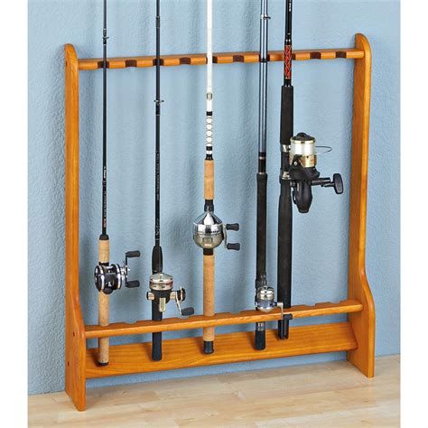 10 rod wall or floor fishing rod rack 147082 fishing