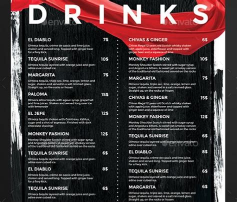 liquor menu template drinks menu template exciting lounge bar drink menu