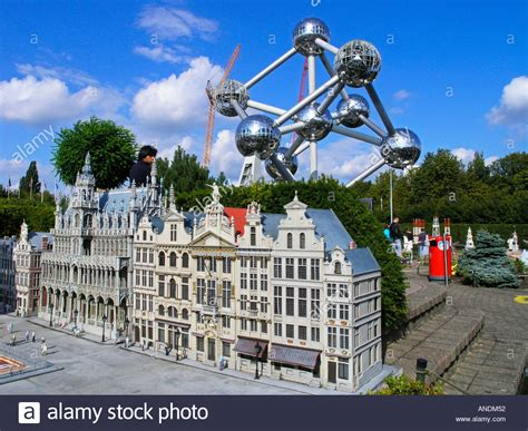 theme park belgium belgium brussels atomium heysel park amusement park stock