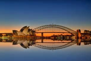 Harbour bridge and oprah house at sunset picture of sydney harbour