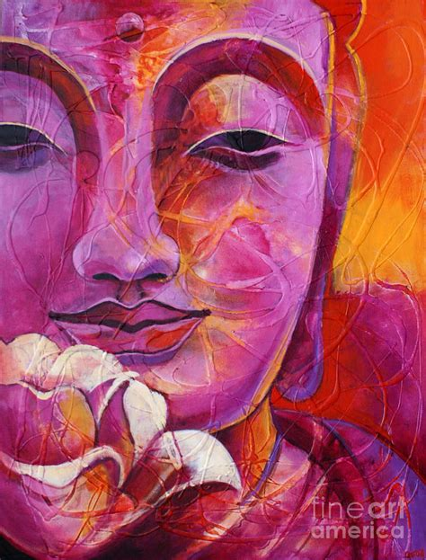 buddha and lotus buddha with lotus flower painting by garoa