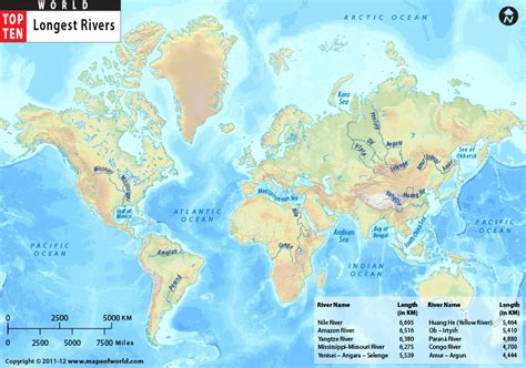 major world rivers map what are the 5 largest rivers in the world go