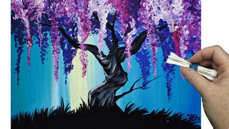 acrylic painting techniques for beginners wisteria willow tree q tip painting technique for