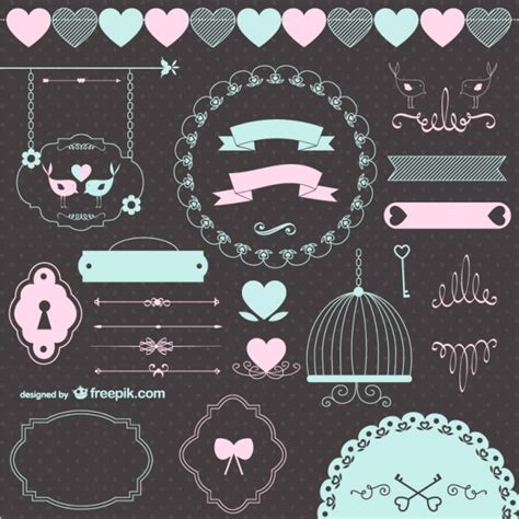 graphic design key elements love wedding retro graphic elements vector free download