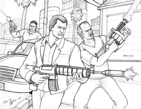 Grand Theft Auto 5 By Daniel Jeffries On Deviantart Gta 5 Coloring Pages
