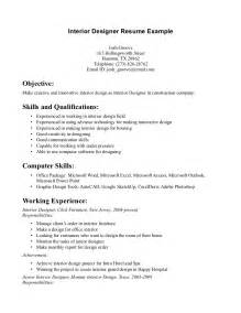 kitchen designer resume interior designer resume sle job resume sles