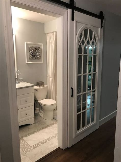 diy cathedral mirror barn door   dream home