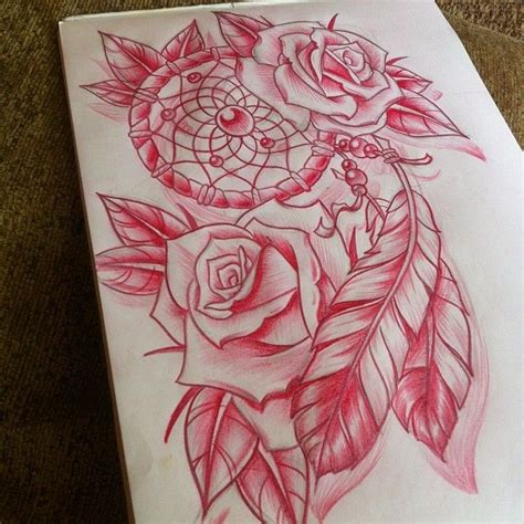 dream catcher and roses tattoo idea tattos pinterest